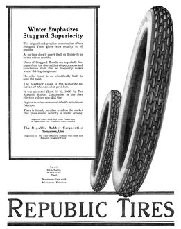 AD: TIRES, 1918. American advertisement for Republic Tires. Illustration, 1918