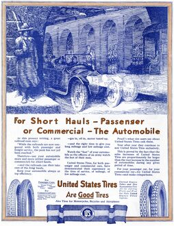 AD: TIRES, 1918. American advertisement for United States Tires. Illustration, 1918