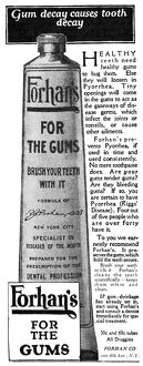 AD: TOOTHPASTE, 1919. American advertisement for Forhan's For The Gums, 1919