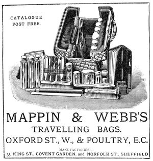 AD: TRAVEL BAG, 1887. English advertisement for Mappin and Webb's traveling bags, 1887
