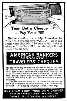 AD: TRAVELERS' CHECKS. American magazine advertisement for American Bankers