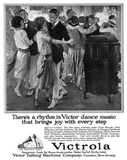 AD: VICTROLA, 1922. American advertisement for the Victrola phonograph, manufactured