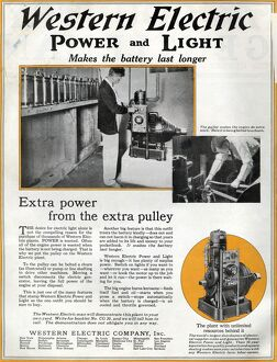AD: WESTERN ELECTRIC, 1919. American advertisement for an engine manufactured by