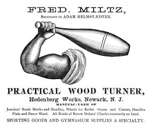 AD: WOOD TURNER, 1893. American advertisement for Fred Miltz, a wood turner for