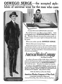 AD: WOOL, 1911. American magazine advertisement for Oswego Serge wool cloth for men's