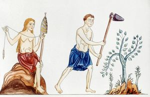 ADAM & EVE, 12th CENTURY. Adam and Eve after the Fall