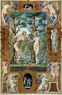 ADAM & EVE, 1546. The Fall: illumination from an Italian Book of Hours, 1546.