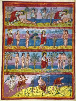 ADAM AND EVE. 9th CENTURY. The fall of Adam and Eve. Illumination from the Moutier-Grandval Bible