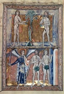ADAM & EVE, c1215. Fall of Man, Expulsion from Paradise: illumination from an English Psalter