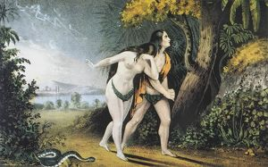 ADAM AND EVE driven out of Paradise: lithograph, c. 1850, by Nathaniel Currier.