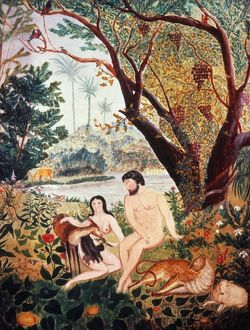 ADAM & EVE. Oil on cardboard by an unknown American artist, c1830.