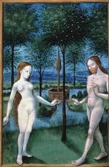 ADAM AND EVE (The Fall of Man): ms. miniature from French Book of Hours, c. 1480.