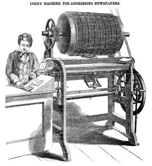 ADDRESS MACHINE, 1858. Machine invented by James Lord for addressing newspapers