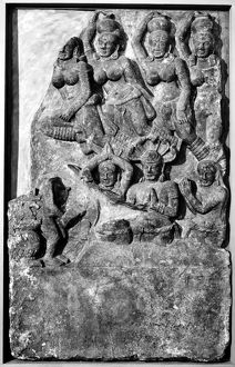 Adoration of a group of Naga, semidivine half serpent beings in Hindu and Buddhist mythology