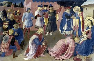 THE ADORATION OF THE KINGS. Beato Angelico. Oil on panel, c1434.