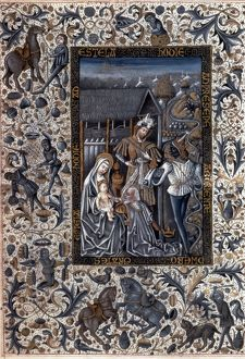 ADORATION OF MAGI. Adoration of the Magi with border of everyday life in Spain