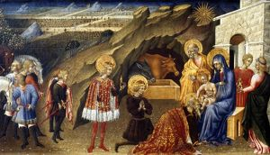 THE ADORATION OF THE MAGI. Giovanni di Paolo. Wood, c1450.