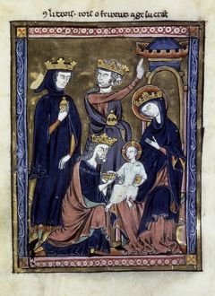 ADORATION OF MAGI. Illumination from a French Book of Hours, c1230