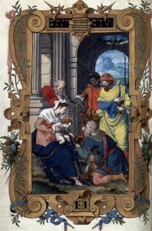 ADORATION OF MAGI. Illumination from a French Book of Hours, c1546-1564.
