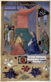ADORATION OF MAGI. Illumination from a Latin Book of Hours. France or Belgium, c1480.