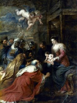 ADORATION OF THE MAGI. Oil, 1634, by Peter Paul Rubens.