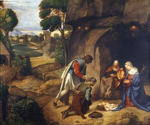 ADORATION OF SHEPHERDS. Painting by Giorgione c1505-10.