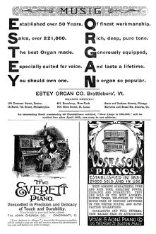 ADS: PIANOS & ORGANS, 1890. American magazine advertisements for pianos and organs