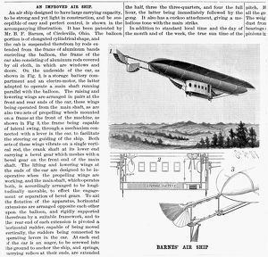 Airship patented by B.F. Barnes of Circleville, Ohio, in 1892
