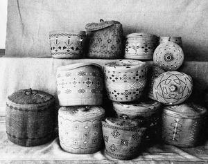 ALASKA: BASKETS, c1899. A group of Aleutian woven baskets with covers, Aleutian Islands