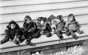ALASKA: ESKIMOS, c1908. A group of five Eskimo children dressed in traditional