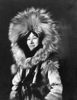 ALASKA: INUIT WOMAN. Portrait of Nowadluk, an Inuit woman in Nome, Alaska