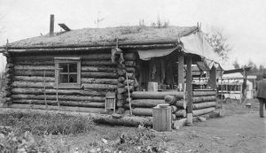 ALASKA: LOG CABIN. A small log cabin with a thatched roof in Alaska. Photograph