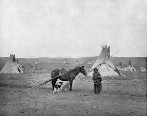 ALBERTA: RESERVE, c1890. A First Nations woman at a reserve in Alberta, Canada