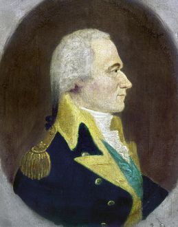 ALEXANDER HAMILTON (1755-1804). American politician. Oil on panel attributed to William J