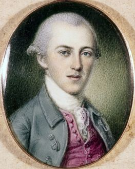 ALEXANDER HAMILTON (1755-1804). American politician. Miniature by Charles Willson Peale