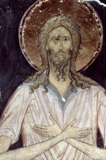 ALEXIS THE GOD'S MAN. Fresco from the Assumption Cathedral. 15th century.