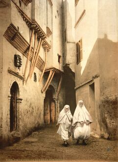 ALGERIA: STREET SCENE, c1899. Street of the Red Sea in Algiers. Photochrome postcard