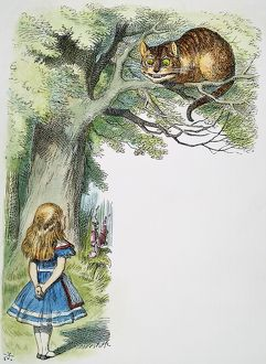 Alice and the Cheshire Cat. Illustration by Sir John Tenniel from the first edition