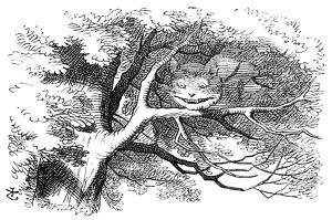 ALICE IN WONDERLAND, 1865. The Cheshire Cat. Illustration by John Tenniel from the first edition of Lewis Carroll's 'Alice's Adventures in Wonderland,' 1865.