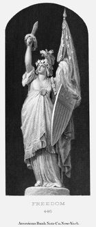 ALLEGORY: COLUMBIA, 1870. Symbol of freedom. American banknote engraving c1870.
