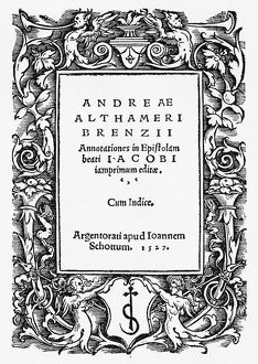 ALTHAMER: TITLE PAGE, 1527. Title page for the published notes on the letters of St