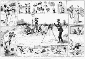 AMATEUR PHOTOGRAPHERS, 1884. Sketches of amateur photographers in comical situations, by A