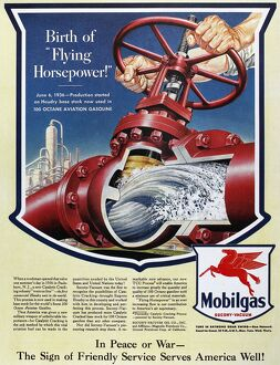 American advertisement for Mobilgas gasoline, 1943.