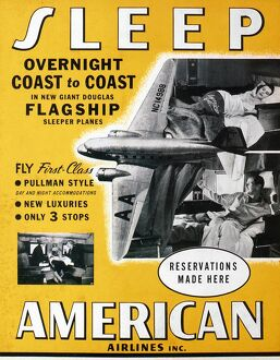 AMERICAN AIRLINES, 1936. An American Airlines display card from 1936 featuring a