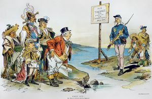 American cartoon by F. Victor Gillam, 1896, invoking the Monroe Doctrine against Great Britain