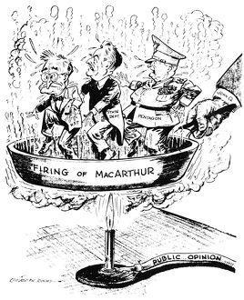 American cartoon by L.J. Roche, 1951, showing President Harry S. Truman, Secretary of State Dean Acheson, and the Pentagon in the proverbial frying pan over Truman's decision to remove General Douglas MacArthur from his post as supreme commander of U.N. forces in Korea.