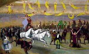 AMERICAN CIRCUS, 1874. 'The Circus.' Oil on canvas, 1874, by A. Logan