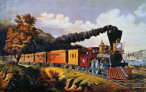 AMERICAN EXPRESS TRAIN. Lithograph by Currier & Ives, 1864.