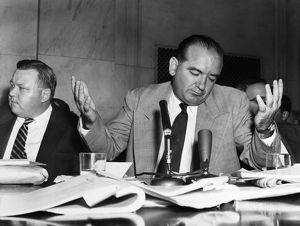 American politician. Senator McCarthy (right) and aide Francis Carr (left) during