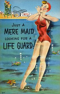 AMERICAN POSTCARD, c1950. 'Just a mere maid looking for a lifeguard!'